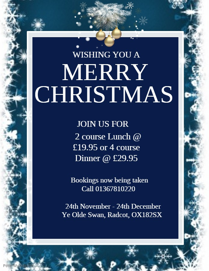Christmas Bookings now being taken
